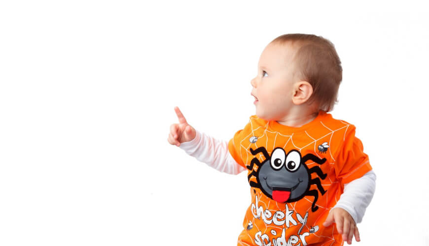 Picture of a toddler in a halloween shirt